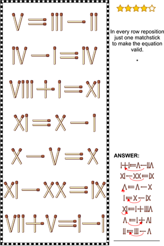 Math Puzzles with Roman Numerals and Matchsticks, Set 3