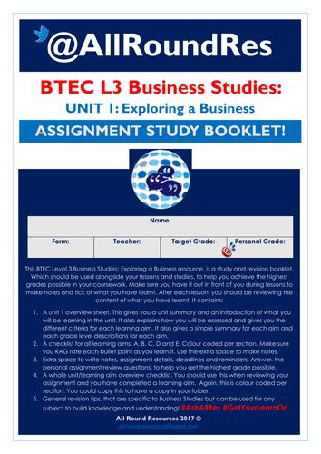 BTEC L3 Business Studies: Unit 1 - Exploring a Business Independent Study Booklet!