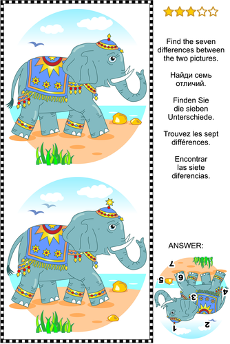 Find the Differences Picture Puzzle with Elephant