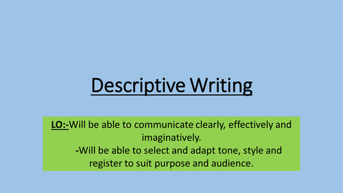 Descriptive writing- New Spec AQA