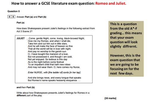 Romeo and Juliet GCSE English Literature  Exam Question techniques