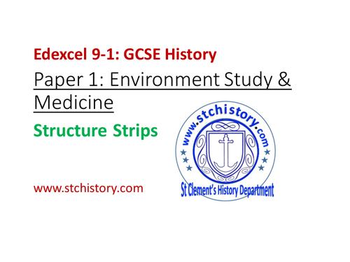 9-1 Edexcel History: Paper 1 STRUCTURE STRIPS Environment Study & Medicine (EDITABLE)