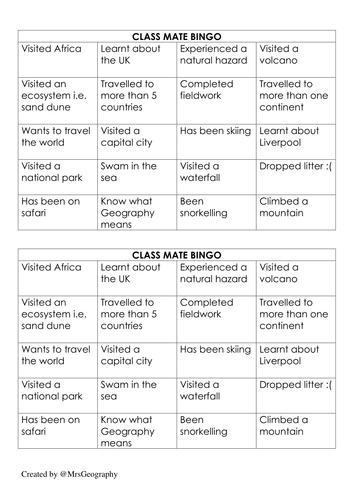 Bingo: Getting to know your geographers