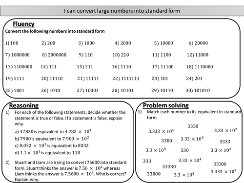 Converting Large Numbers Into Standard Form Mastery Worksheet By