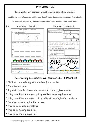 EYFS weekly maths assessments