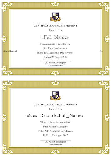 Template/Mail Merge Certificates of Achievement