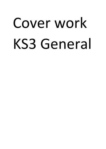 KS3 English Cover Work Pack