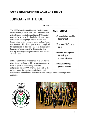 WJEC AS Level Government and Politics Unit 1 The Judiciary in the UK