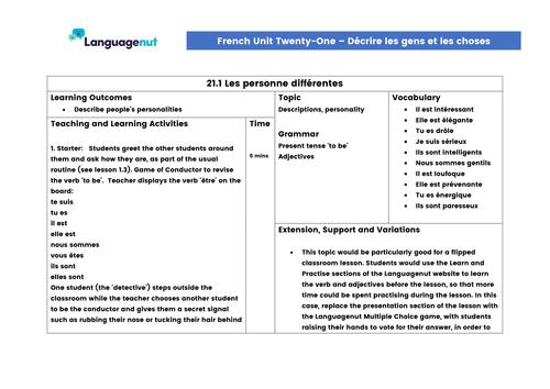 Languagenut Lesson Plans & Resources - French - Unit 21