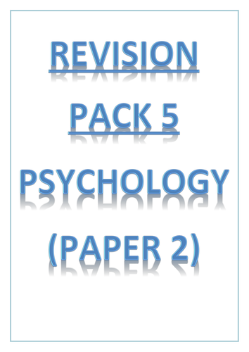 AQA GCSE PE 2016 - REVISION PACK 5 - Psychology
