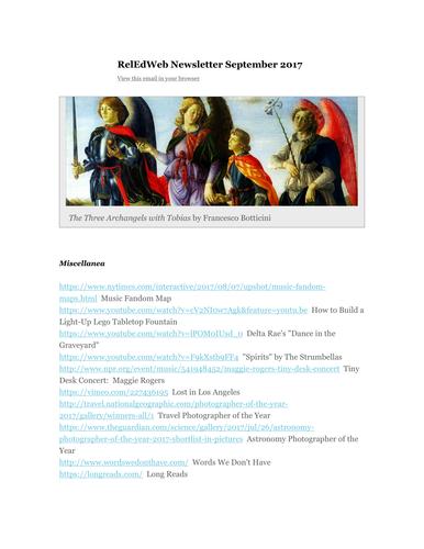 RelEdWeb RE Resources September 2017 Newsletter