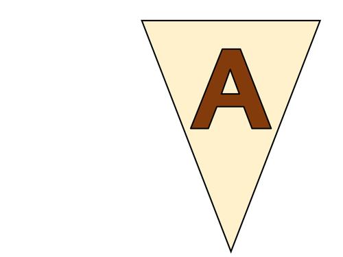 Bunting featuring A-Z Upper Case Alphabet with Brown Lettering