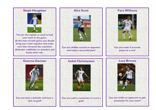 Girls Football Challenge Cards