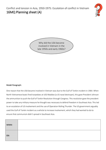AQA GCSE History - Conflict in Asia - Section 2 - L8 - 16 mark question on US involvement