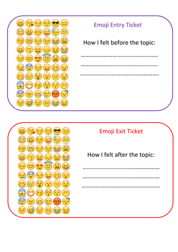 Emoji entry and exit ticket for any topic