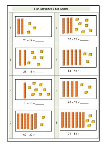 Year 2 - I can subtract two 2-digit numbers pictorial WRMH