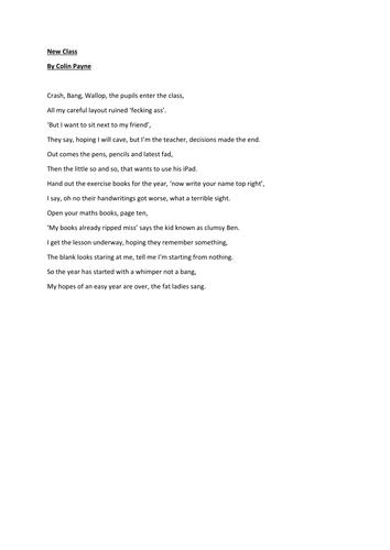 New Class Poem