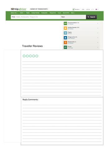 Tripadvisor Worksheet resource (2017)