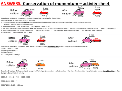 Conservation of momentum, collisions, elastic and inelastic collisions.  Complete lesson.