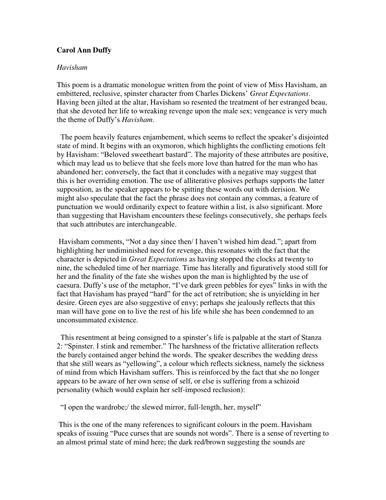 Havisham Analysis