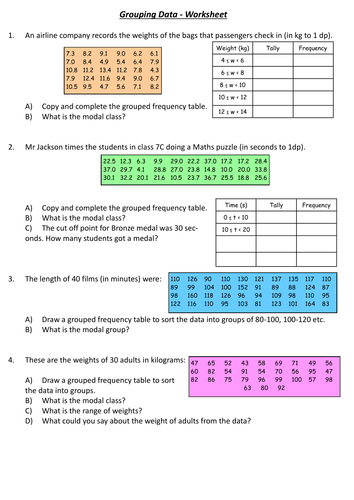 Grouping Data Worksheet