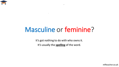 French - An introduction to masculine & feminine