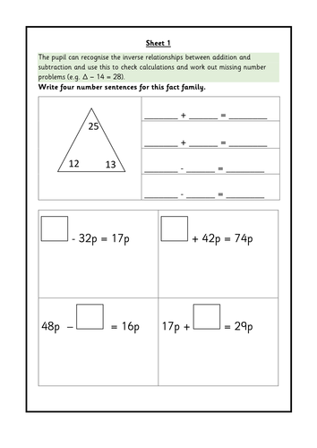 Year 2 inverse calculations and missing number problems. WRMH