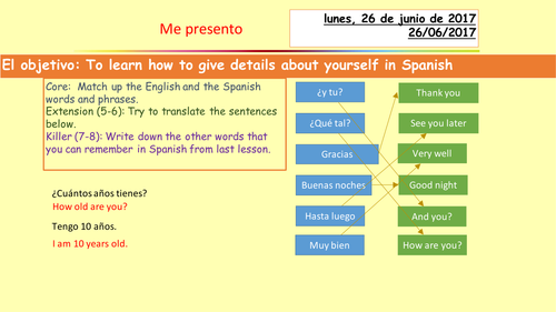 Greetings, numbers, months and basic information in Spanish