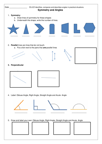 Angles & Symmetry Worksheet