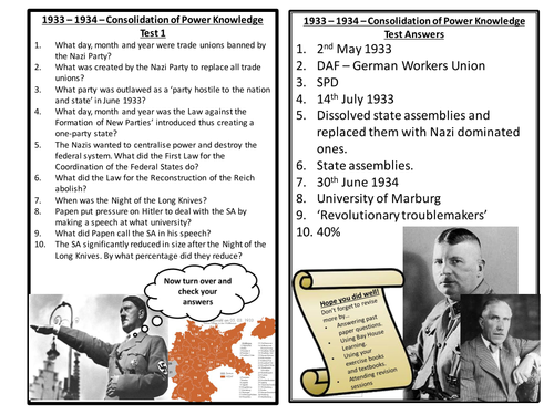 AQA Democracy and Nazism - Consolidation of Power 1933-34 Quizzes