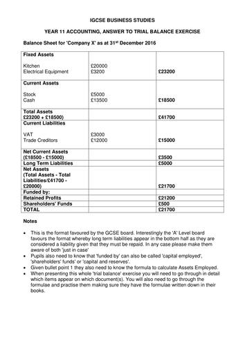 business studies cambridge igcse financial information unit 24