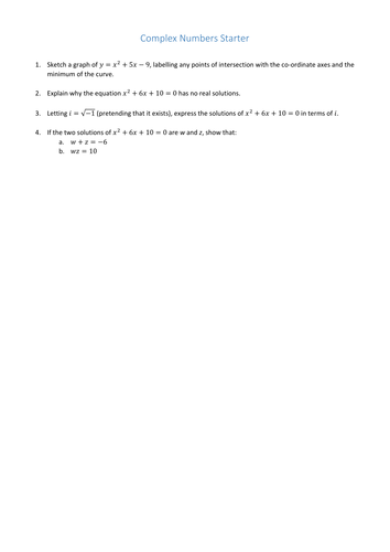 High school complex numbers resources