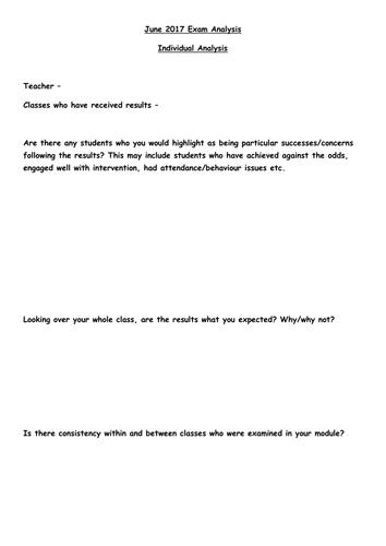 Staff Exam Analysis Feedback Support