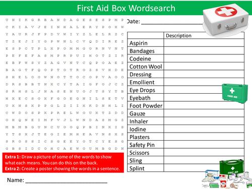 First Aid Box Wordsearch Safety Starter Settler Activity Homework