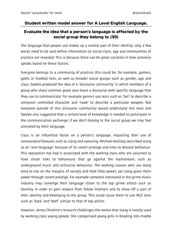 language and social group example student essay  a level english  language and social group example student essay  a level english language  aqa new spec by astarlevels  teaching resources  tes