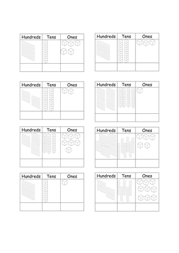 place value hundreds tens ones dienes base ten by catmac01 teaching resources. Black Bedroom Furniture Sets. Home Design Ideas