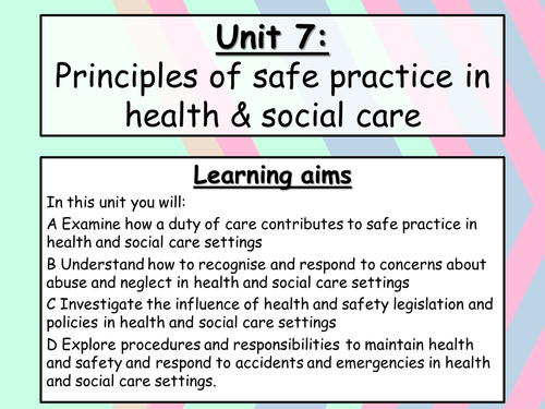 unit title principles of health and