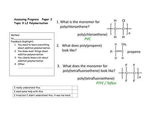 Edexcel 9-1 TOPIC 9 Sc24b 24d Uses and recycling polymers SEPARATE or  TRIPLE PAPER 2
