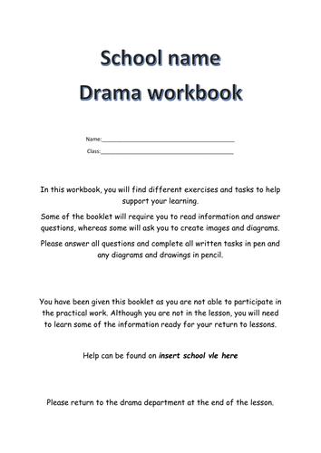DRAMA NON PARTICIPANT WORKBOOK / NON PRACTICAL ACTIVITIES