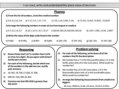 read write and understand the place value of decimals  mastery  read write and understand the place value of decimals  mastery worksheet  by joybooth  teaching resources  tes
