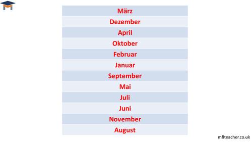 Elementary school German resources: days, dates, months, seasons