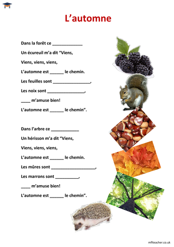 French - 'L'automne' poem lesson