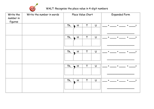 Investigating 4 Digit Numbers Worksheet By Katemcdonald1989