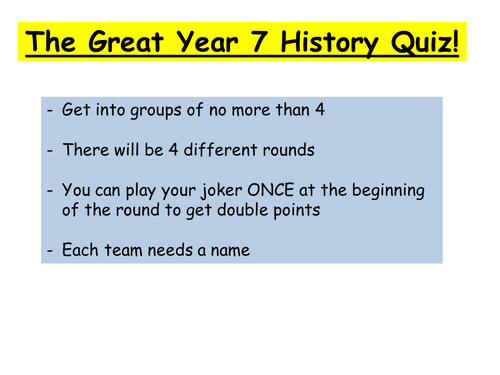 End of Yr7 Quiz powerpoint