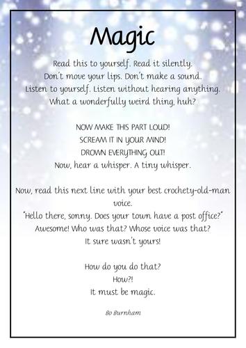 Magic poem reading corner display poster
