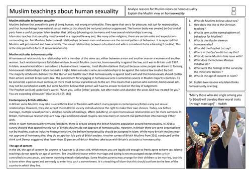 AQA GCSE Religious Studies Sexuality in Islam