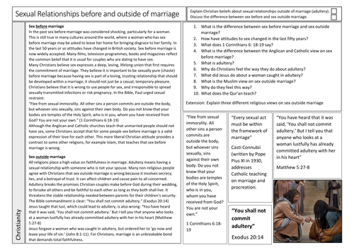 Sex Before and Outside of Marriage in Christianity