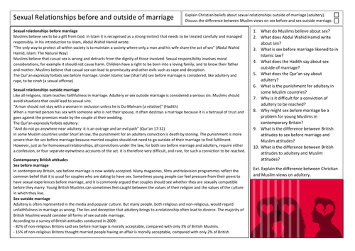 AQA GCSE Religious Studies Sex Before and Outside of Marriage in Islam