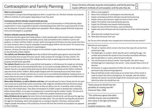 AQA GCSE Religious Studies Contraception and Family Planning in Christianity
