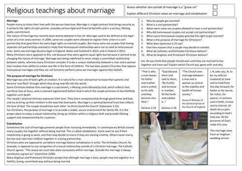 AQA GCSE Religious Studies Religious Teachings on Marriage in Christianity